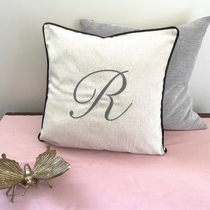 """🎁 NEW """"R"""" Monogram Accent Pillow Cover in Gray"""